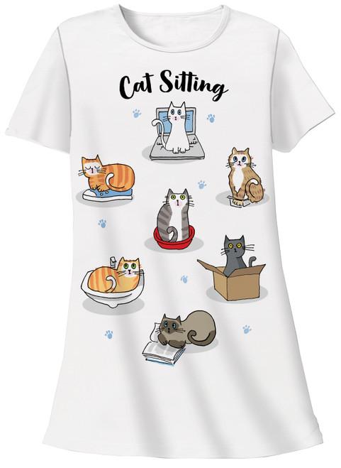 Cat Theme Sleep Shirt Pajamas - Cat Sitting - 339T