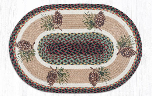 "Pinecone Oval Patch Welcome Rug 20""x30"" by Earth Rugs"