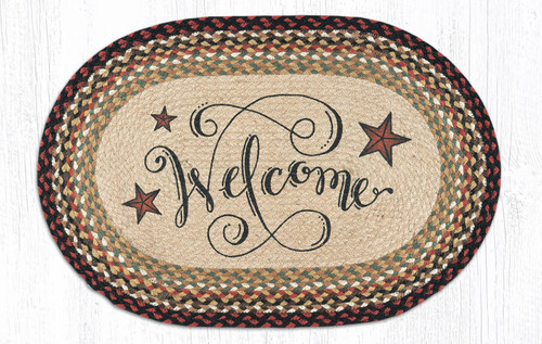 "Barn Stars Oval Patch Welcome Rug 20""x30"" by Earth Rugs"