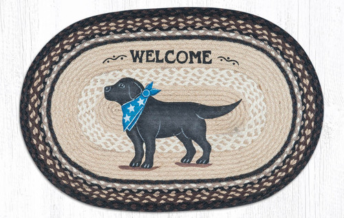 "Black Lab Welcome Oval Patch Rug 20""x30"" by Earth Rugs"