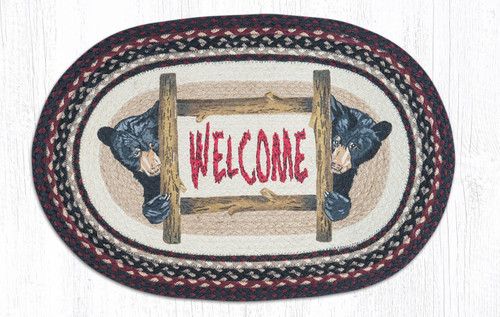 "Bear Welcome Oval Patch Rug 20""x30"" by Earth Rugs"
