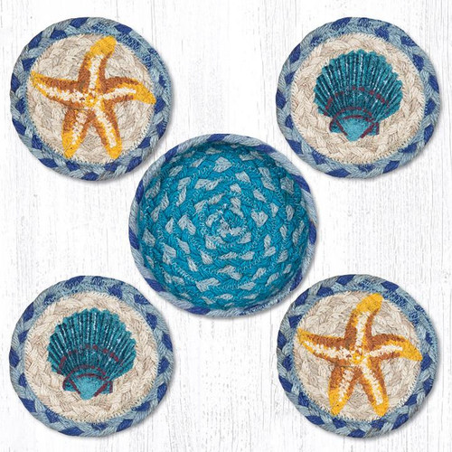 """Starfish Scallop Teal Natural Set or 4 Braided Coasters in Jute Basket 5"""" CNB-378"""