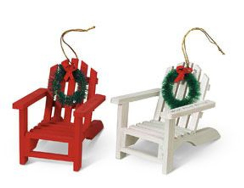 Adirondack Chairs Christmas Set 2 Wood Ornament - 866-22