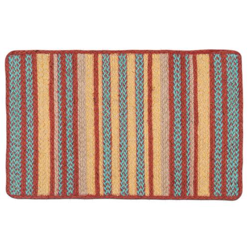 """Oblong Stripe Turquoise Terra Cotta Braided Floor Mat Rug 17""""x27"""" - C-9-122"""