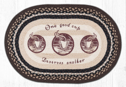 """One Good Cup of Coffee Oval Braided Floor Mat Rug 20""""x30"""" - OP-133"""
