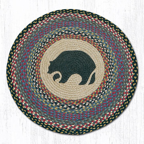 "Bear Round Braided Floor Mat Rug 27"" - RP-043"