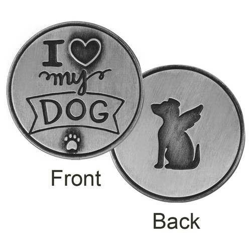 I Love My Dog Paw Print Memory Token Coin 49762