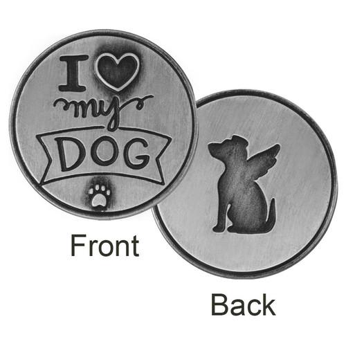 I Love My Dog Paw Print Memory Token Coin 49762