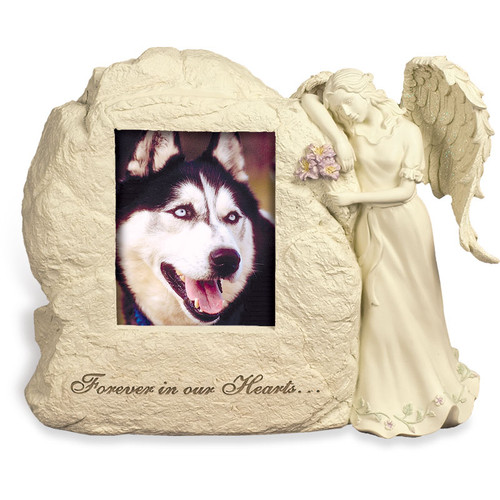 Forever in Our Hearts Angel Rock Urn with Photo Pet Memorial 45526
