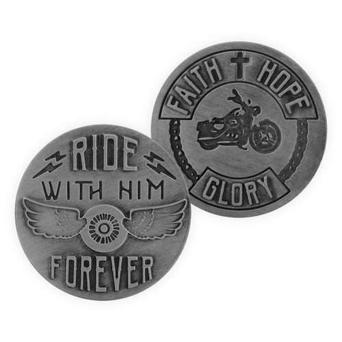 Motorcycle Ride Forever Guardian Scripture Memory Token Coin 17486