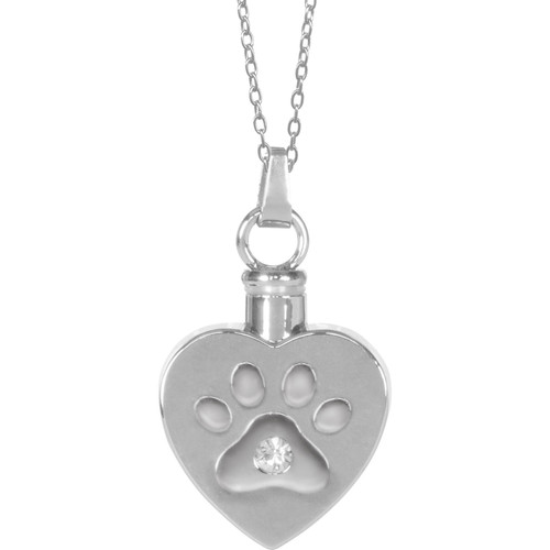 Heart Paw Print Keepsake Pendant Urn Memorial Necklace 46505