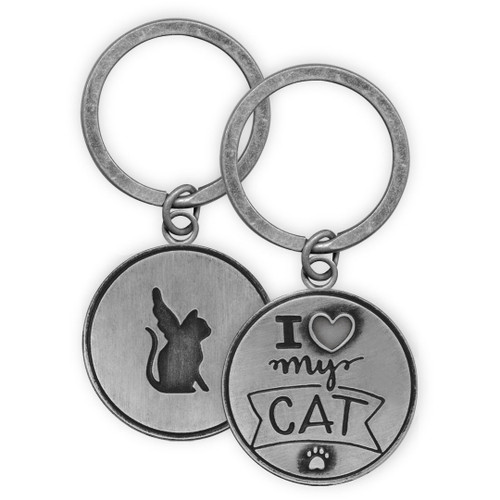 Both sides shown for - I Love My Cat Angel Key Chain 49823