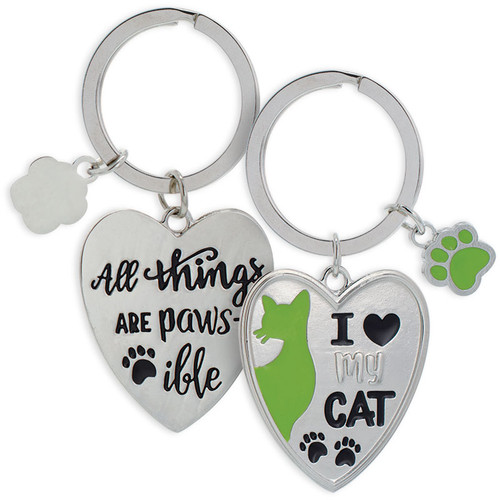 Both sides of - Heart I Love My Cat - All Pawsible Key Chain 49816
