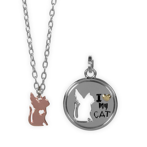 I Love My Cat Angel Pendant Necklace and Charm Set - 16106