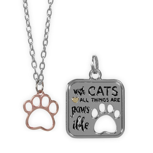 With Cats All Things are Pawsible Pendant Necklace and Charm Set - 16108