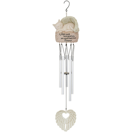 Cat Lives Forever Angel Garden Wind Chime 15512