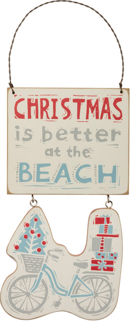 Christmas Is Better At The Beach - Wood Ornament