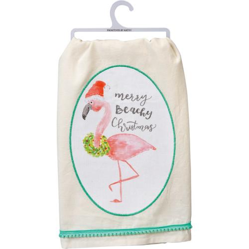 Merry Beachy Christmas Flamingo Dish Towel - 100421