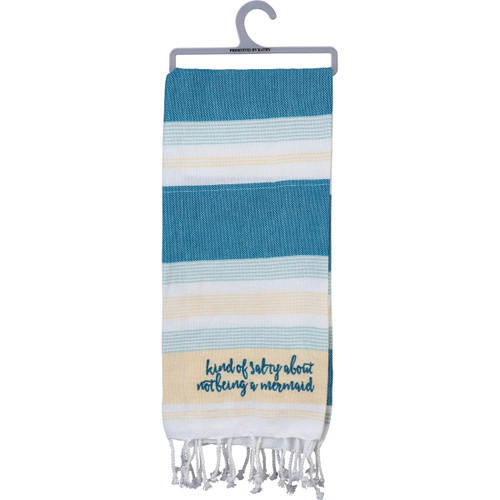 Embroidered Kind of Salty About Not Being a Mermaid Blue White Dish Towel - 103766