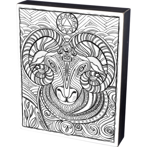 Aries Ram Colorable Wall Art - Zodiac Color a Sign - 34049