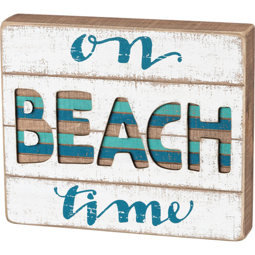Slat Box Wood Sign - On Beach Time - 38248