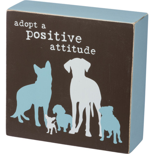 "Rescue Pet Box 5"" Wood Sign - Adopt a Positive Attitude - 39134"
