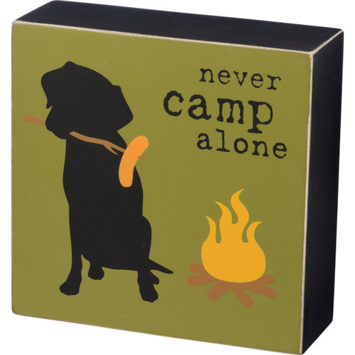 """Pet Lover Box 5"""" Wood Sign - Never Camp Alone 39142"""