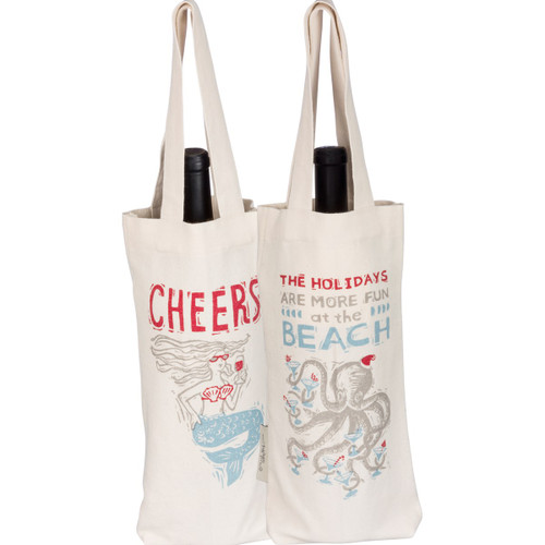 Two Sided - Octopus Holiday and Mermaid Cheers Cotton Wine Tote Bag 36735