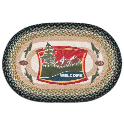 Forest Welcome 20x30 Hand Printed Oval Braided Floor Rug OP-116