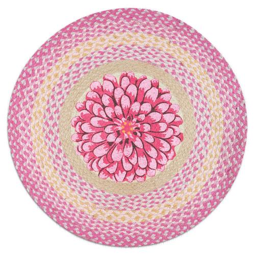 """Pink Flower Round Braided Floor Mat Rug 27"""" - RP-571"""