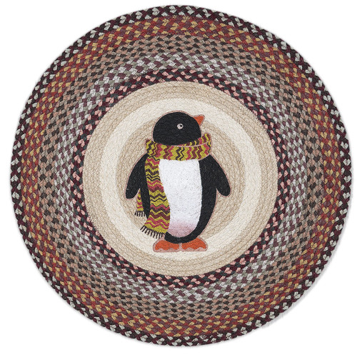 "Penguin Round Braided Floor Mat Rug 27"" - RP-587"