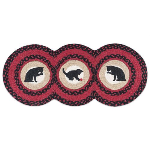 "Cat Circles - Red and Black Jute Runner 15"" x 36"" - TCP-238"