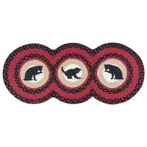 "Cat Circles - Red and Black Jute Runner 15"" x 36"" - TCP-238"
