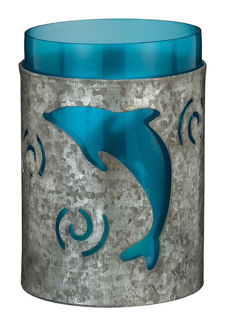 "Galvanized Candleholder 5.5"" - Dolphin 20345"