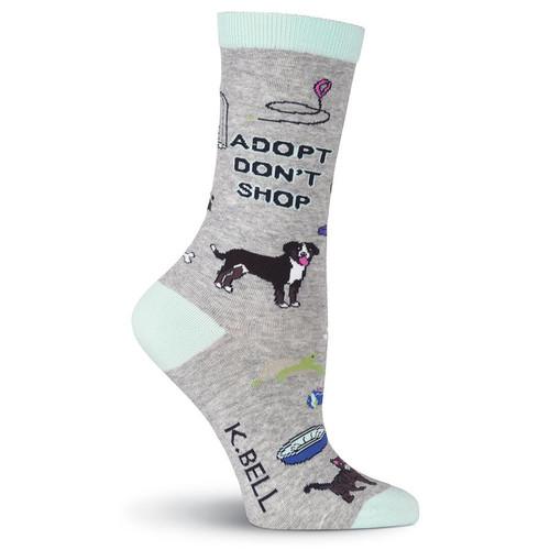 Women's Adopt Don't Shop Fun Crew Socks - KBWF18H019