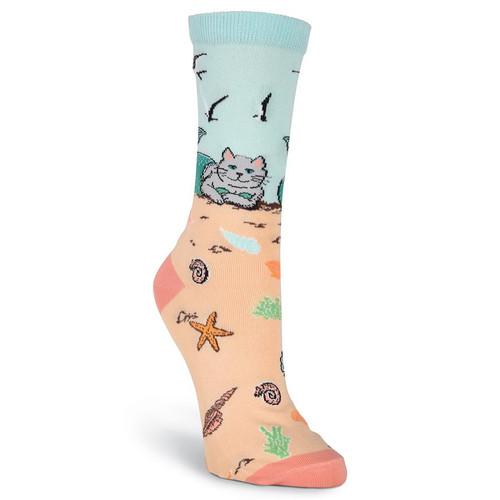 Mermaid Cat Beach Fun Womens Socks - KBWF17H018