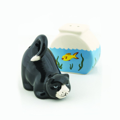 Cat with Fish Bowl Ceramic Salt & Pepper Shakers 90188