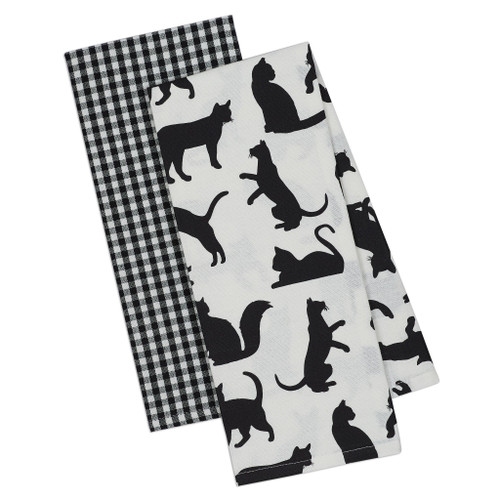 Cats Meow Cat Silhouette 2 Towels DishTowel Set - DII - 90209