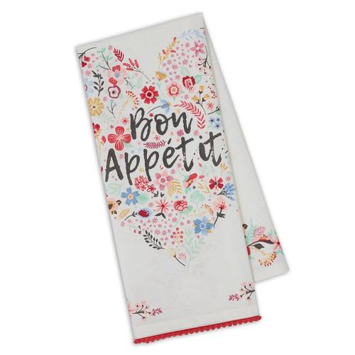 Bon Appetit Fleur Heart Embellished Towel DishTowel - DII - 750234