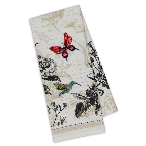 Botanical Hummingbird Butterfly Embellished Towel DishTowel - DII - 750390