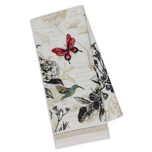 Botanical Hummingbird Butterfly Embellished Towel DishTowel - DII - 750390