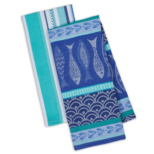Set of Two Santorini Fish Jacquard Towels DishTowel - DII - 90863