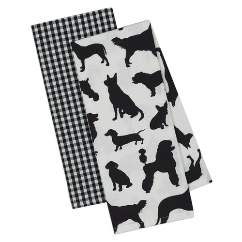 Dog Show Puppy Silhouette 2 Towels DishTowel SET - DII - 90213