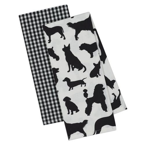 Dog Show Puppy Silhouette 2 Towels DishTowel SET - DII - 90213
