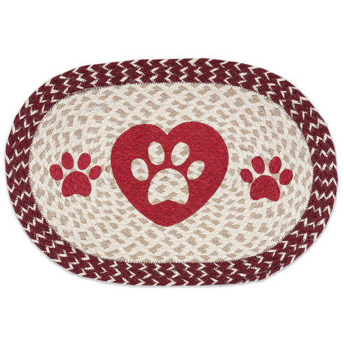 "Pet Paw Placemat - Red and Tan Jute  10"" x 15"" - MSP-9-117"