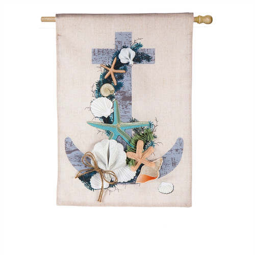 Coastal Christmas Anchor Linen HOUSE FLAG - 13L8317