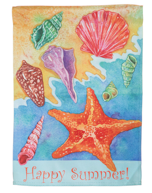 Happy Summer Shells Suede GARDEN FLAG 14S3413BL