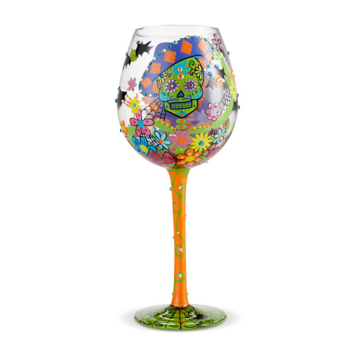 Sugar Skulls Decorated Wine Glass  - 22 oz - 6002982
