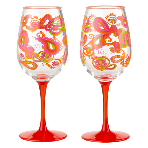 Shatterproof 2 Piece Set Paisley Wine Glass Acrylic 16 oz - 6001635