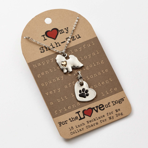 Love of Paws Shih-Tzu Pendant Necklace and Charm Set - 4051089